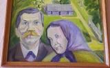 1987 metais architekto L.Juozonio atkurtas dail. A.Žmuidzinavičiaus gimtosios sodybos Seirijuose vaizdas. Šalia - dailininko tėvai.
